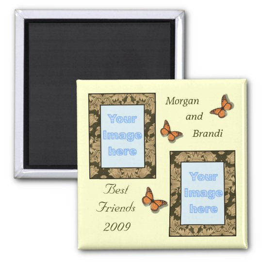 Brown Lace Print Best Friends Photo Magnet