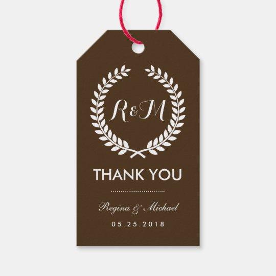 Brown Laurel Wreath Monogram Wedding Gift Tag