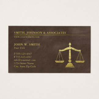 Brown Lawyer Scales of Justice Gold effect Canvas Business Card