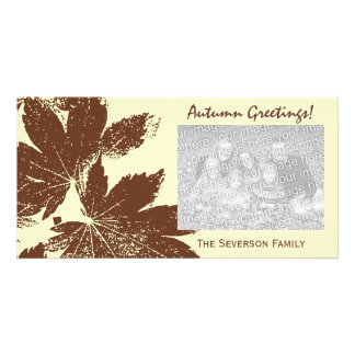 Brown Leaf Print Autumn Greetings Photo Greeting Card