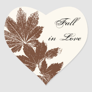 Brown Leaf Stamp Fall in Love Wedding Heart Sticker