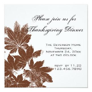 Brown Leaf Stamp Thanksgiving Dinner Invitation
