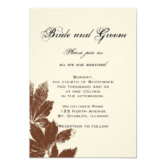 Brown Leaf Stamp Wedding Invitation