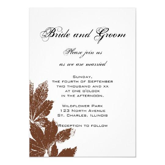 Brown Leaf Stamp Wedding Invitation