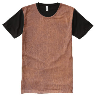 Brown leather All-Over print T-Shirt