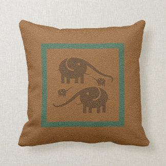 Brown Leather And Brown Elephants Throw Pillow