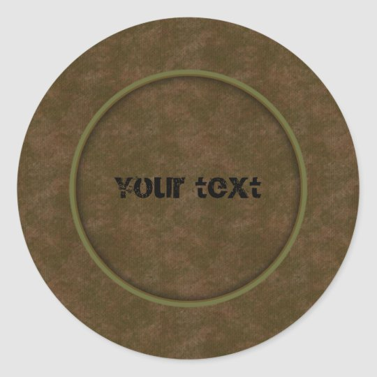 Brown Leather Classic Round Sticker
