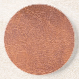 Brown leather beverage coasters