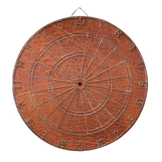 Brown leather dartboard