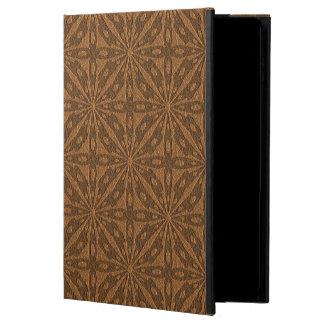 Brown Leather Geometric Embossed Design