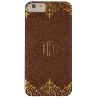 Brown Leather Gold Accents Barely There iPhone 6 Plus Case