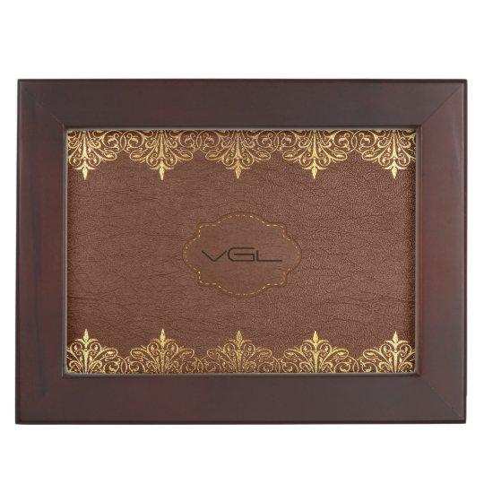 Brown Leather & Gold Foil Floral Border Keepsake