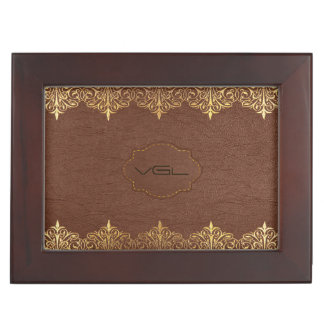 Brown Leather & Gold Foil Floral Border Memory Box