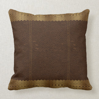 Brown Leather & Gold Geometric Border Throw Pillow