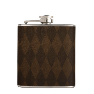 brown leather harlequin pattern flask