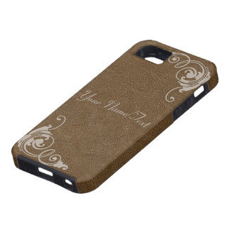 Brown Leather Image with Tooled Scrolls in Cream iPhone 5 Case