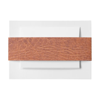 Brown leather invitation belly band