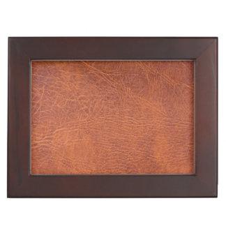 Brown leather keepsake box