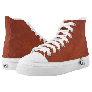 Brown Leather Look Hightop Printed Shoes