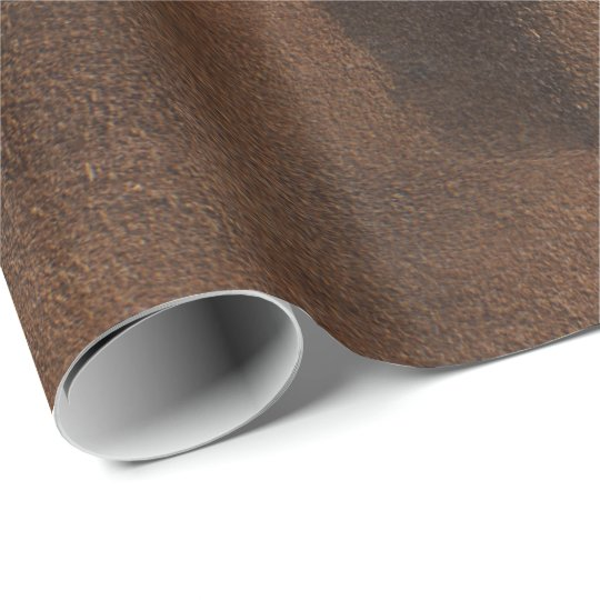 Brown Leather Look-Like Coat Wrapping Paper