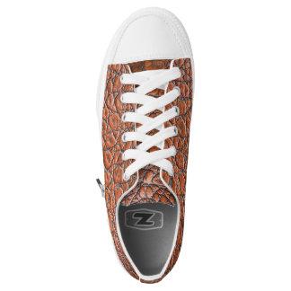 Brown leather look printed Designer Sneakers