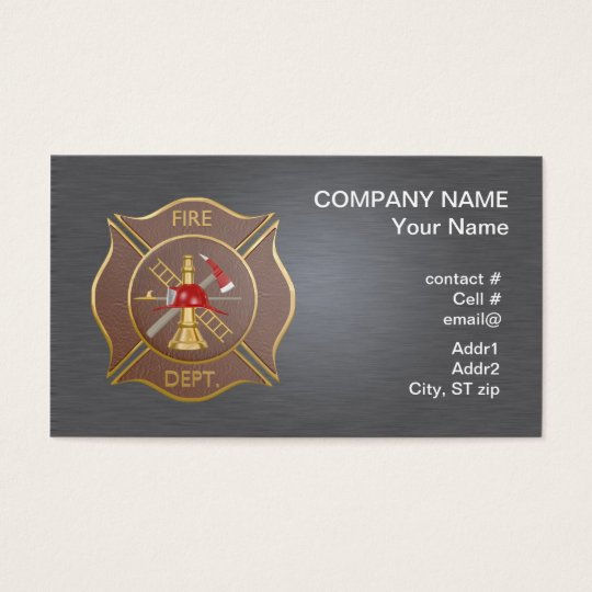 Brown leather maltese  firefighting cross business card