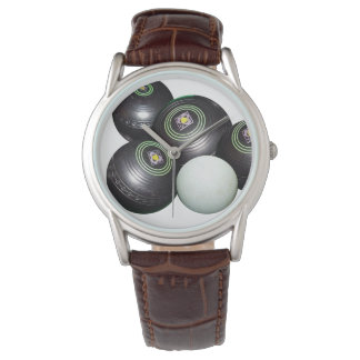 Brown_Leather_Mens_Black_Lawn_Bowls_Watch. Watch