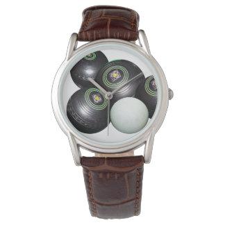 Brown_Leather_Mens_Black_Lawn_Bowls_Watch. Wristwatch