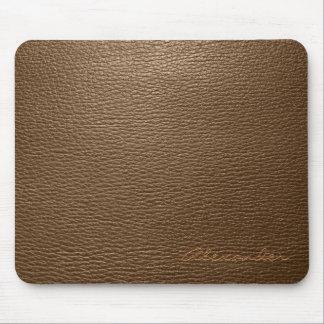 Brown Leather Pattern look- Custom Monogram Mouse Mat