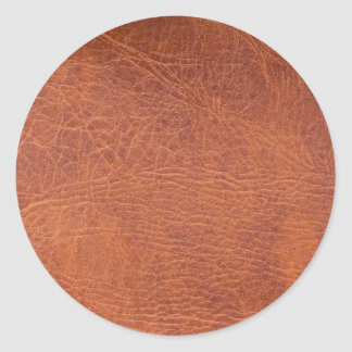 Brown leather round sticker