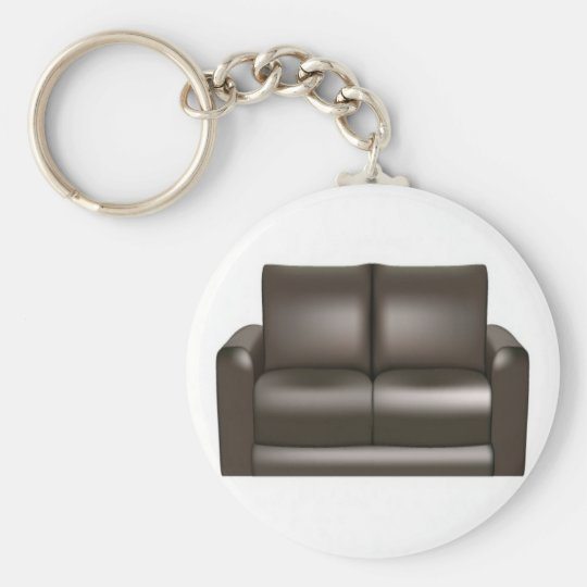 Brown leather sofa design basic round button key ring