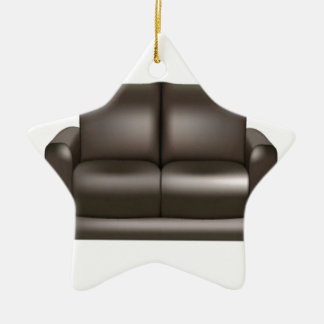 Brown leather sofa design christmas ornament