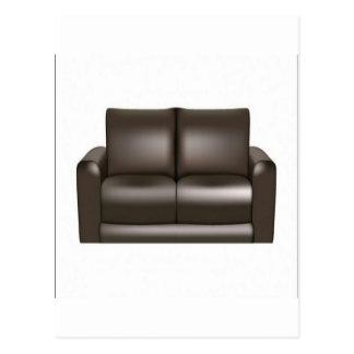 Brown leather sofa design postcards