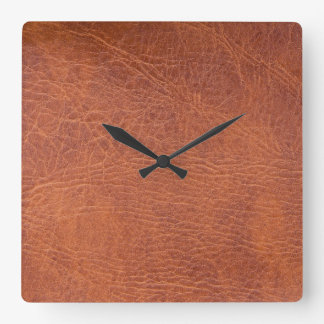 Brown leather square wall clock