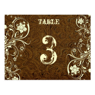 Brown Leather Table Number Card (Cream, flat)