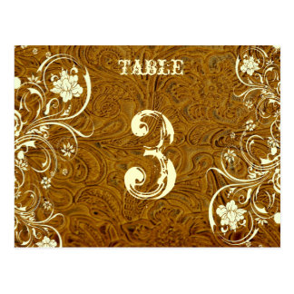 Brown Leather Table Number Card (Cream, flat) Postcard