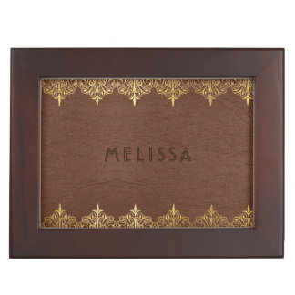 Brown Leather Texture God Lace Frame Keepsake Boxes