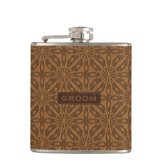 Brown Leather Texture Groom Design Flask