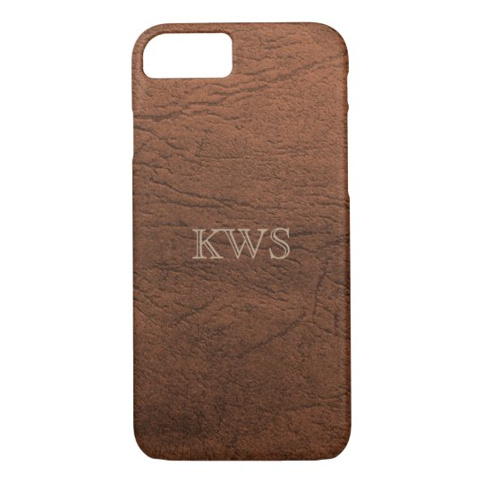 Brown Leather Texture Monogram iPhone 7/8 Cases