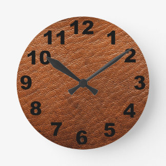 Brown Leather Texture Wall Clock
