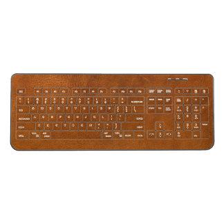 Brown Leather Wireless Keyboard