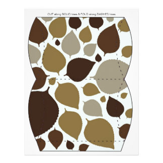 Brown Leaves Pillow Puff Box Template 21.5 Cm X 28 Cm Flyer