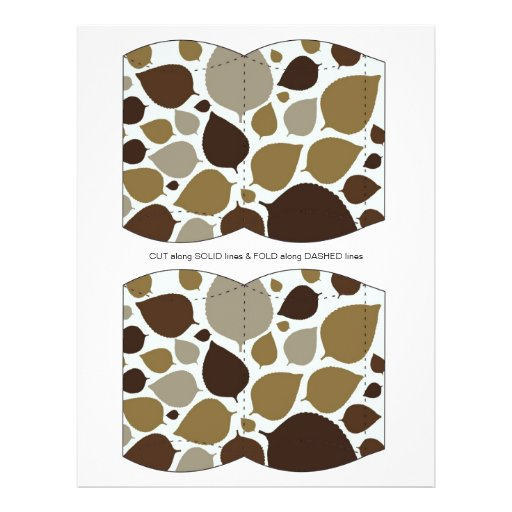Brown Leaves Pillow Puff Box Template Flyer
