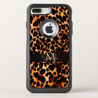 Brown Leopard Animal Print Monogram OtterBox Commuter iPhone 8 Plus/7 Plus Case