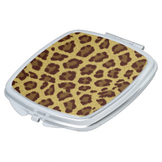 Brown Leopard Print Compact Mirror