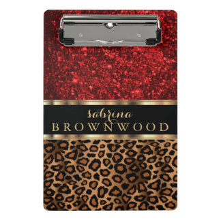 Brown Leopard Skin Pattern and Red Glitter Mini Clipboard