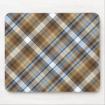 Brown, light blue and white tartan design mouse mats