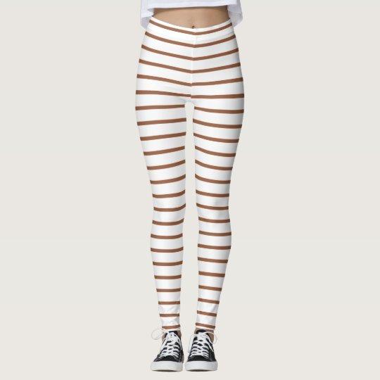 Brown Lines White Leggings
