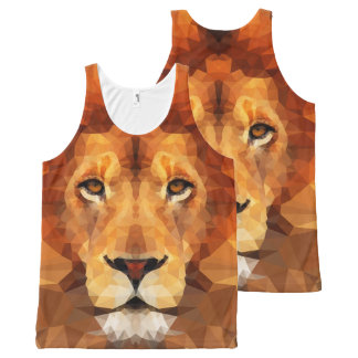 Brown Lion Head All Over Print Unisex Tank
