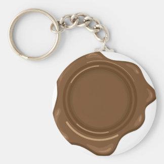 Brown liquid wax seal vintage basic round button key ring